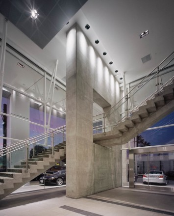 Inox handrail with glass infill installation in the BMW Showroom, LA, CA
