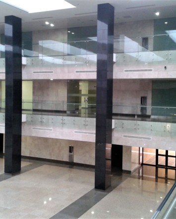 Atrium view University of Al Imam, Riyadh, Saudi Arabia Optik glass balustrade.