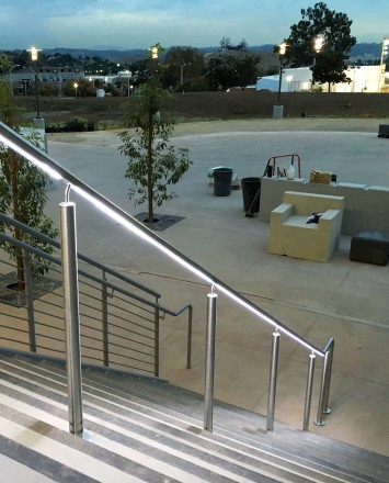 Mt Sac, CA, CIRCUM Round guardrail installation with LED railing