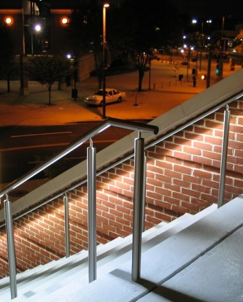 Outdoor stair Circum round guardrail with LED at Hilton Hotel Baltimore, MD