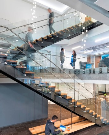 View of Twitter HQ, CA, Optik guardrail with clear glass