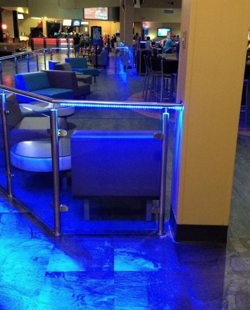 Leisure Complex, Grapevine TX, CIRCUM Round guardrail installation with RGB type LED railing