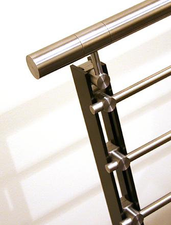 Ferric guardrail with stainless steel infill rails