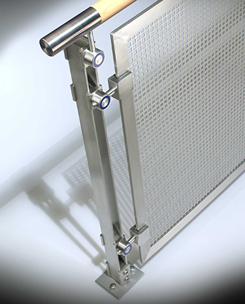 inox guardrail with wood top rail & perforated stainless steel infill panels
