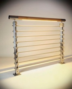 inox wood rail, infill rails and warm temp LED