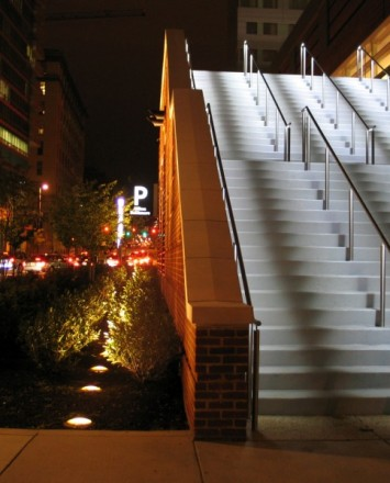 Upward view Circum LED Handrail installation at the Hilton in Baltimore, MD
