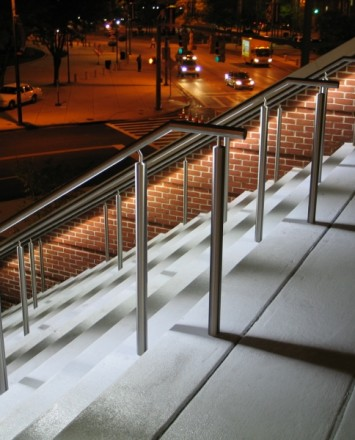 Downward angled view of Circum LED Handrail installation at the Hilton in Baltimore, MD