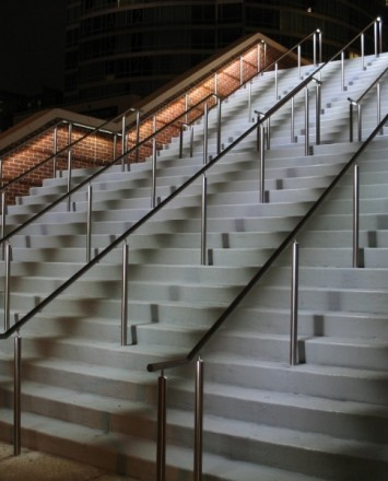 Upward angled view of Circum LED Handrail installation at the Hilton in Baltimore, MD