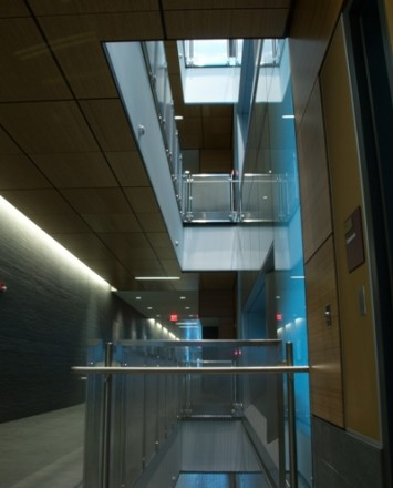 Dual floor view of Central Michigan University, MI, CIRCUM guardrail with perforated stainless steel infill panels