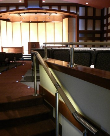 Stage view of Kroc Salvation Army Community Center, IL, CIRCUM guardrail with wood LED railing