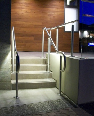 Outdoor side stairwell at Lafayette Library, CA, CIRCUM installation with LED railing
