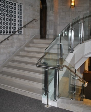 View of Konic guardrail with glass infill in the entrance of Mount Saint Mary's, NY.