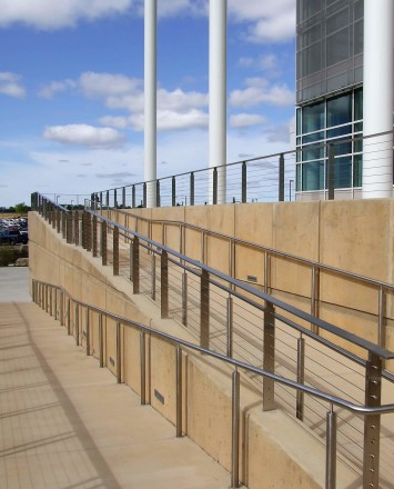 View of Rock Valley College entrance, IL, Core mounted posts, KOTO guardrail