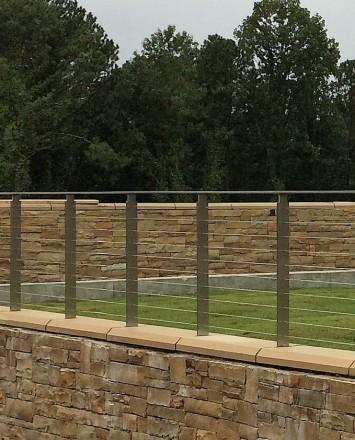 View of Perimeter Summit Blvd, GA, Core mounted posts, KOTO guardrail