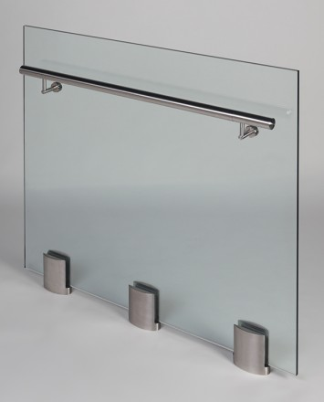 Closeup Studio shot of 3 metal ellipsis Optik POD mounting hardware with glass infill & stainless steel rail