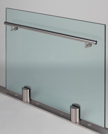 Closeup Studio shot of 2 metal round Optik POD mounting hardware with glass infill & stainless steel rail