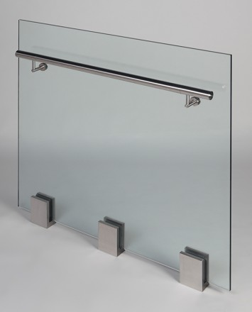 Closeup Studio shot of 3 metal square Optik POD mounting hardware with glass infill & stainless steel rail
