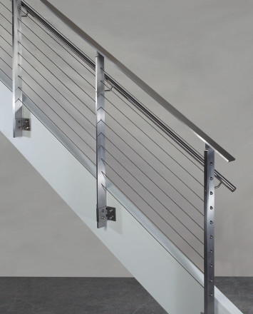 Side view of KOTO, side mounted railing with stainless steel handrail and top cap