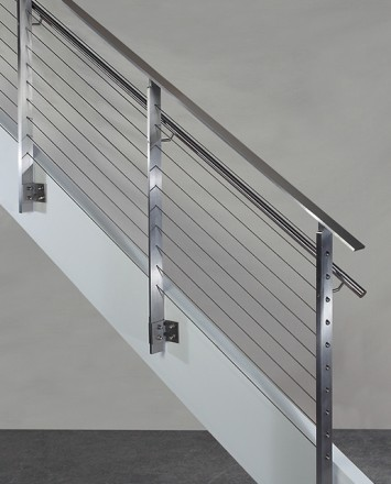 KOTO, side mounted railing with stainless steel handrail and top cap