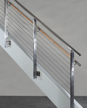 Side view of KOTO, side mounted railing with wood handrail and stainless steel top cap
