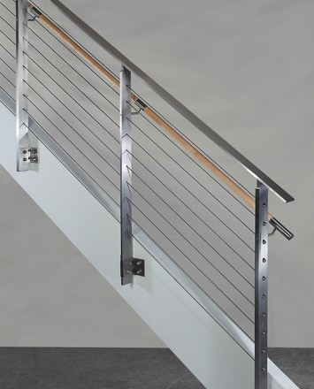 KOTO, side mounted railing with wood handrail and stainless steel top cap