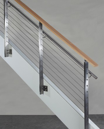 KOTO, side mounted railing with stainless steel handrail and wood top cap
