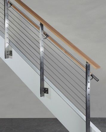 KOTO, side mounted railing with wood handrail and top cap