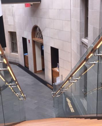 Downward shot of Mount Pleasant Library, Washington DC, Optik Shoe with wood handrail and LED handrail system