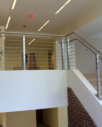 Circum square surface mounted stainless steel installation in SUNY Nathan Hale, NY.