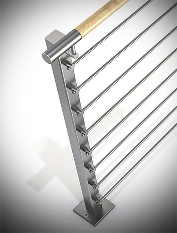 Circum square stainless steel guardrail with stainless steel perforated infill rails