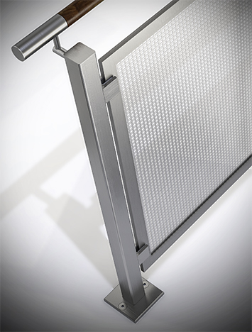 Circum square stainless steel guardrail with stainless steel perforated infill panels