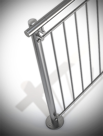 Circum round stainless steel guardrail with stainless steel perforated infill picket rails