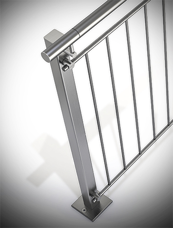 Circum square stainless steel guardrail with stainless steel perforated infill picket rails