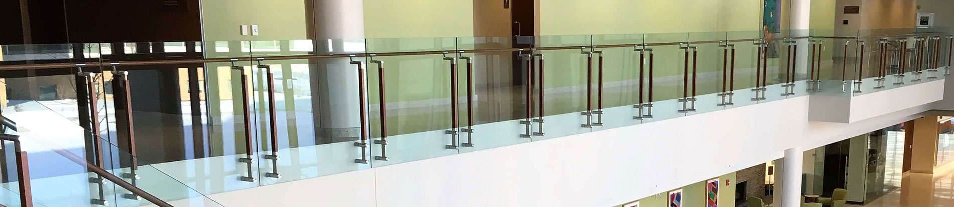 HDI's Kubit railing system with Oak cladding is installed at The University of Wisconsin School of Nursing.