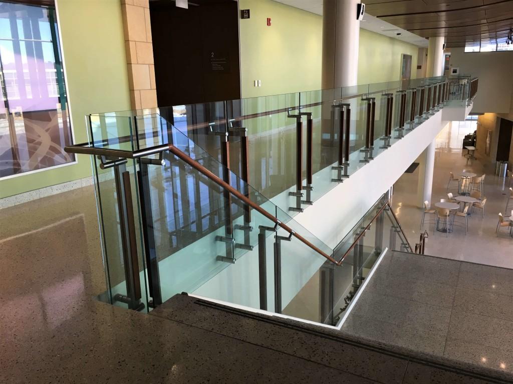Custom stair railing at University of Wisconsin-Madison School of Nursing building