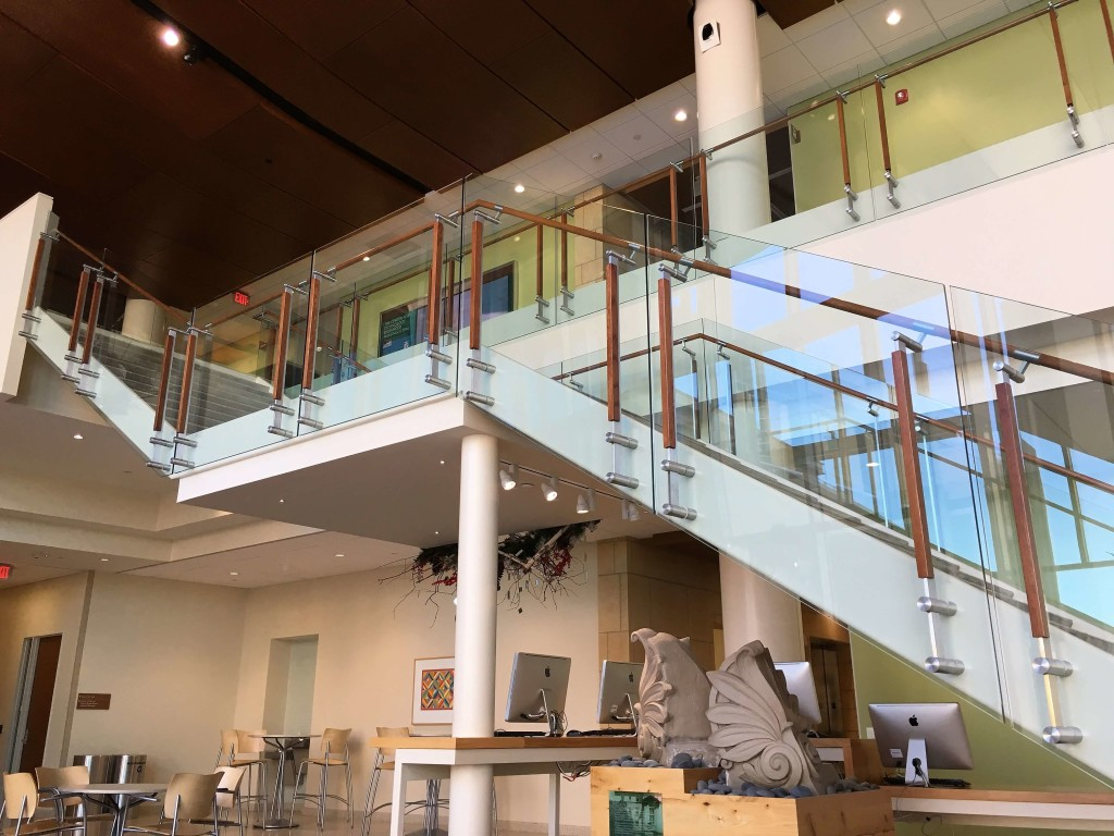 Custom metal and wood handrail at University of Wisconsin-Madison School of Nursing