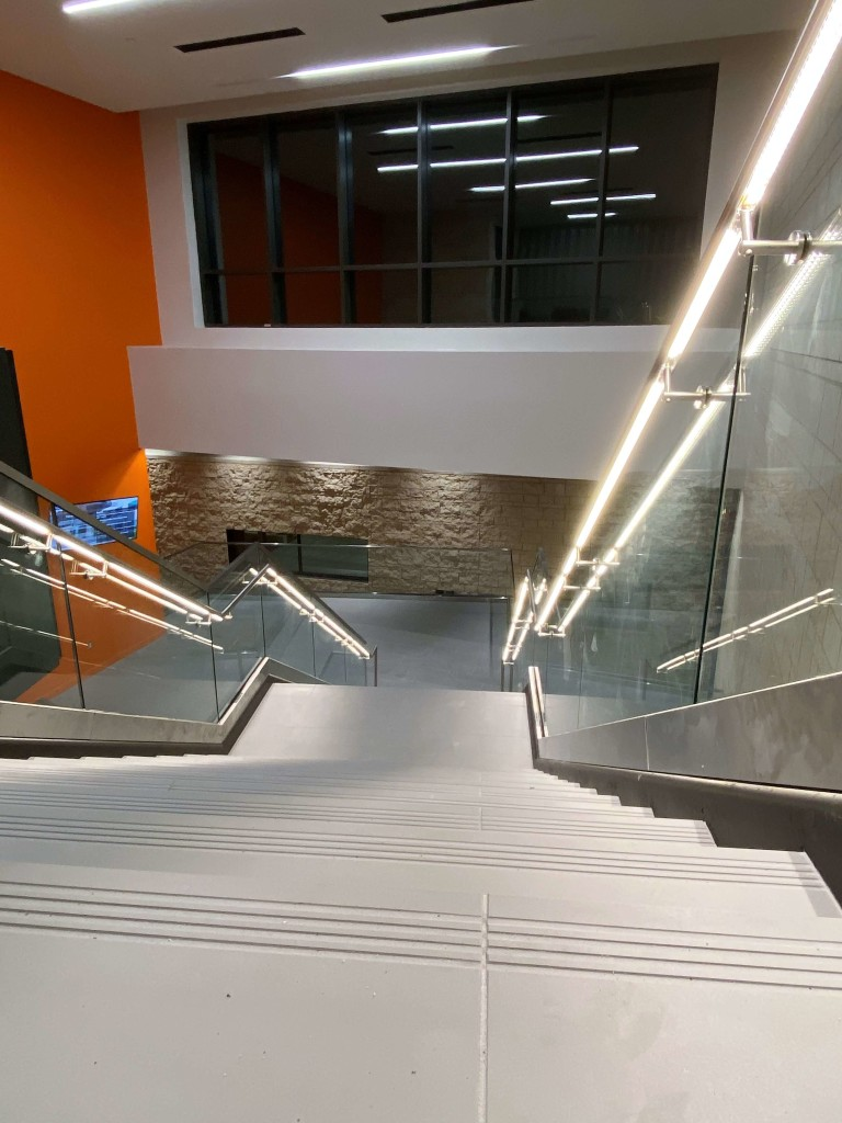 custom Optik shoe handrail with LED at UTPB