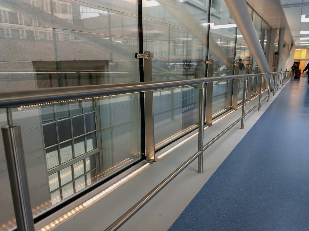 closeup of custom handrail at Fazzalari Sky Bridge in Boston