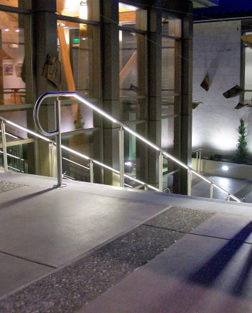 Outdoor stair at Lafayette Library, CA, CIRCUM Round installation with LED railing