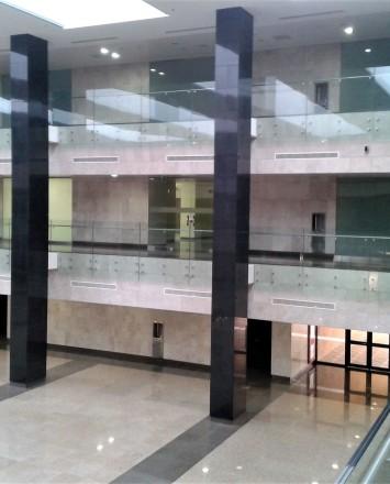Atrium view University of Al Imam, Riyadh, Saudi Arabia Optik glass balustrade.