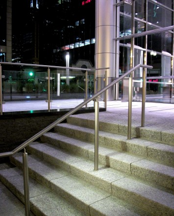 City staircase of N Clark Street, Chicago, IL, CIRCUM round guardrail with LED railing