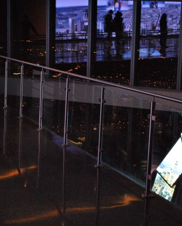 Circum round guardrail with glass infill and LED at One World Trade Center