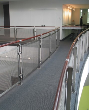 Inox curved rail with stainless steel infill installation at an EZ Storage, Baltimore, MD
