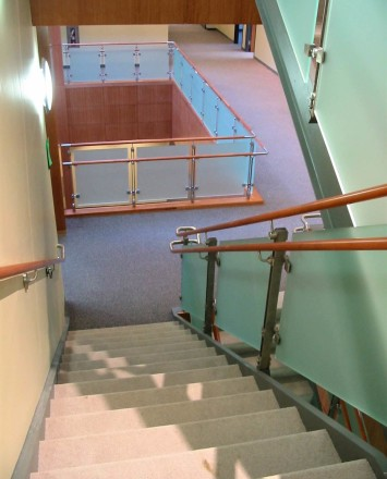 View of Inox guardrail with frosted glass infill at Novartis Pharmaceuticals, NJ.