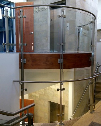 Inox curved glass guardrail installation in Chabad Temple, Stamford, CT