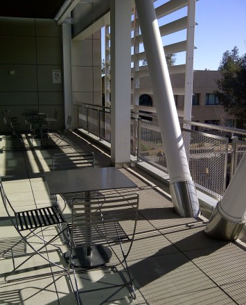 Outdoor Ferric stainless steel guardrail installation at De Anza College, CA.