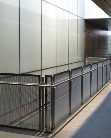 Circum handrail installation with stainless steel infill at Central Michigan University, MI.