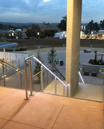 Mt Sac, CA, CIRCUM Round guardrail installation with LED railing