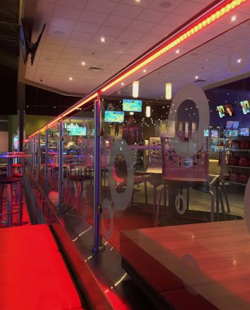 Leisure Complex, Alpharetta GA, CIRCUM Round guardrail installation with RGB type LED railing