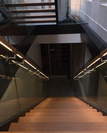 Mt Pleasant Library, DC, Optik Shoe guardrail installation with wood handrail and LED railing